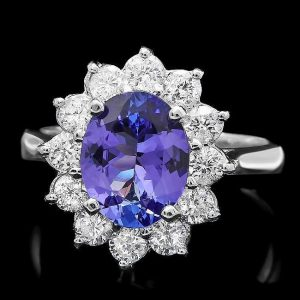 Very Important Estate 14kt White Gold, Tanzanite and Diamond Ring