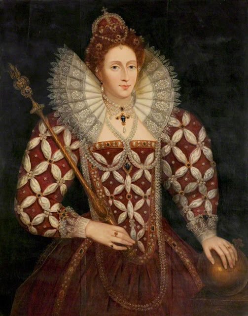 Queen Elizabeth I wearing her coronation ring and the Chequers Locket Ring. Photo Credit: Pinterest