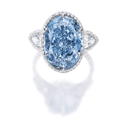 Superb and Rare Fancy Vivid Blue Diamond and Diamond Ring