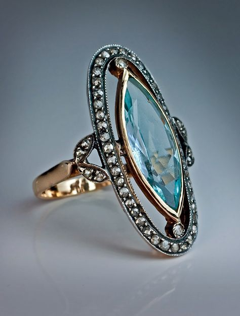 Antique Marquise Cut Blue Topaz and Diamond Ring