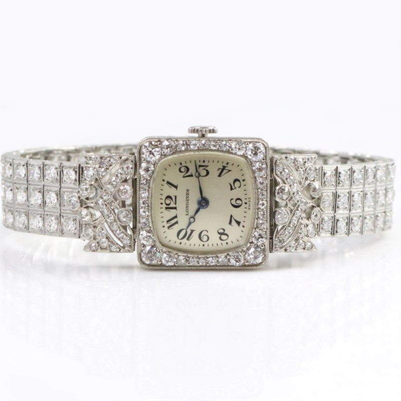 Art Deco Period Platinum And Diamond Dinner Watch