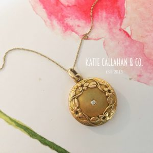 14kt Rose Gold Art Nouveau Diamond Locket (Antique)