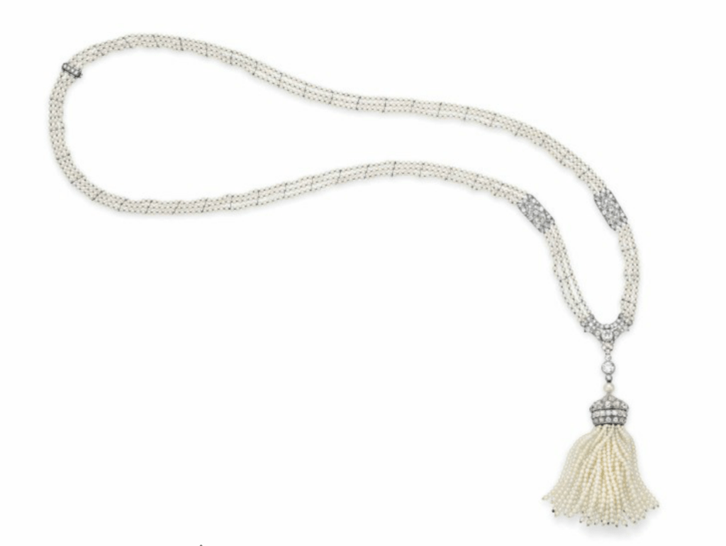 AN ART DECO SEED PEARL AND DIAMOND SAUTOIR, BY RAYMOND YARD