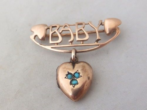 Victorian Turquoise Baby 9ct Gold Locket Brooch