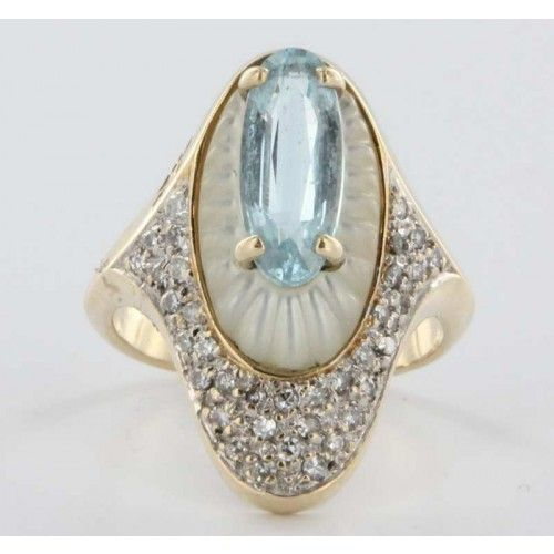 """""""Alouette"""" ~ vintage azure topaz and mother-of-pearl ring"""