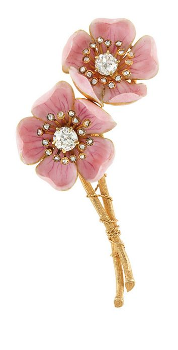 Antique Gold, Pink Enamel and Diamond 'American Wild Rose' Brooch, by Paulding Farnham for Tiffany & Co.