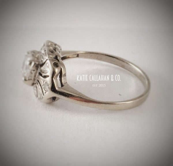 Art Deco Transitional Cut Diamond (.51cts) 14kt White Gold Engagement Ring (Vintage)