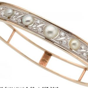 Edwardian Cultured Pearl and European Cut Diamond 14kt Yellow Gold Platinum Topped Bangle Bracelet (Antique)