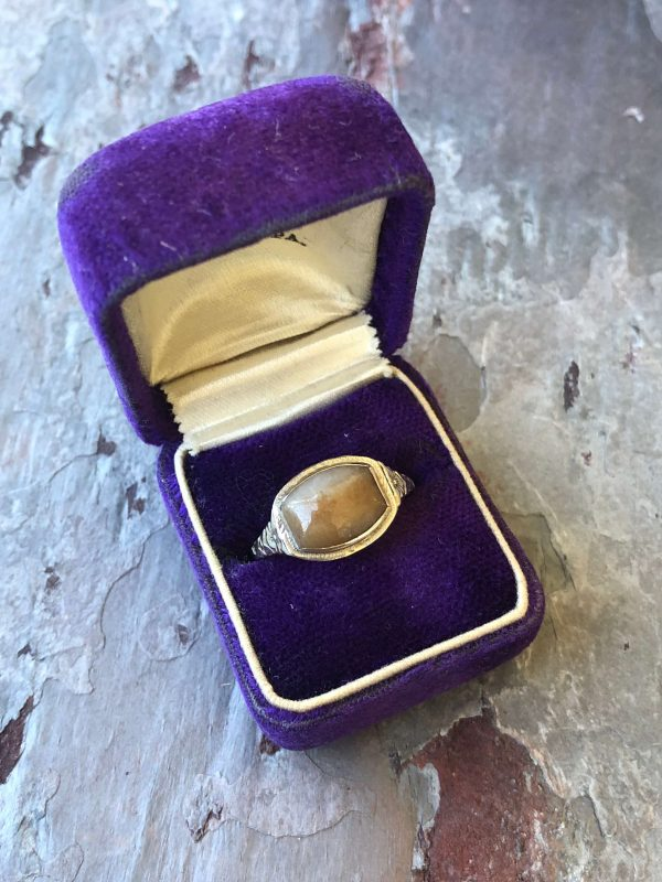 Agate and 14kt White Gold Victorian Inspired Ring