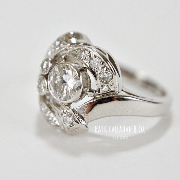 Victorian Themed 14kt White Gold Diamond Engagement/Cocktail Ring (Vintage)