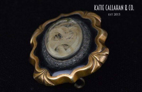Victorian Gold-Filled Mourning Hair Brooch (Antique)