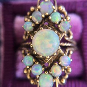 Retro Modern 10kt Yellow Gold Opal Navette Ring (Vintage)