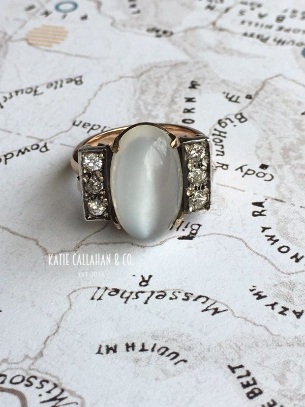 Art Deco 10kt Yellow and White Gold Moonstone and Diamond Ring (Vintage)
