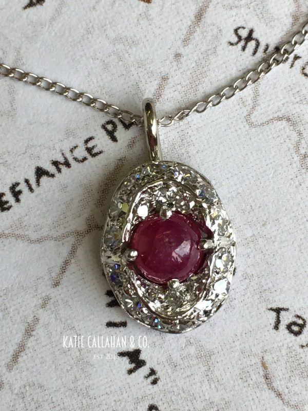 Platinum and 18kt White Gold Ruby and Diamond Pendant (Vintage)