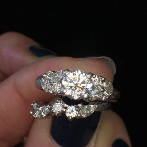 Estate Platinum Custom Diamond Wedding Set 1.25ctw