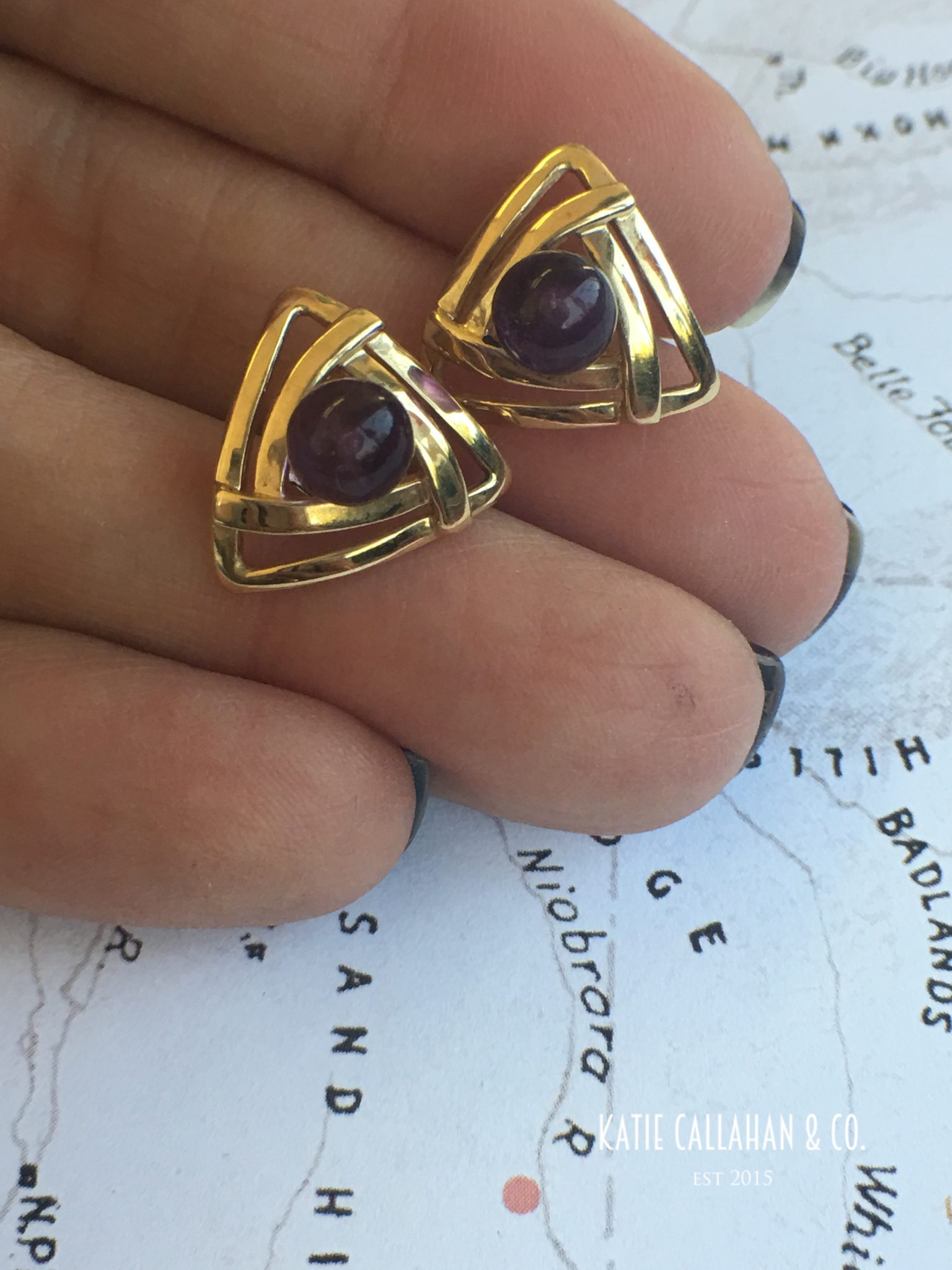 Retro 14kt Yellow Gold Amethyst Bead Earrings (Vintage)