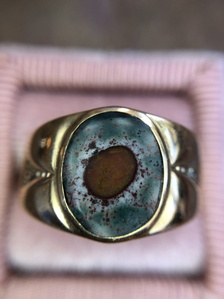 Retro 10kt Yellow Gold Diamond And Bloodstone Ring Vintage