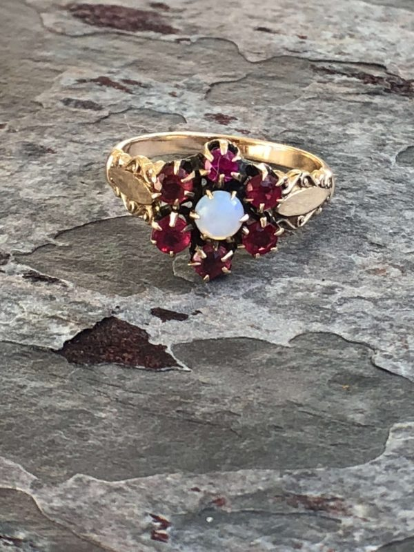 Vintage 14kt Yellow Gold Opal and Natural Ruby Ring