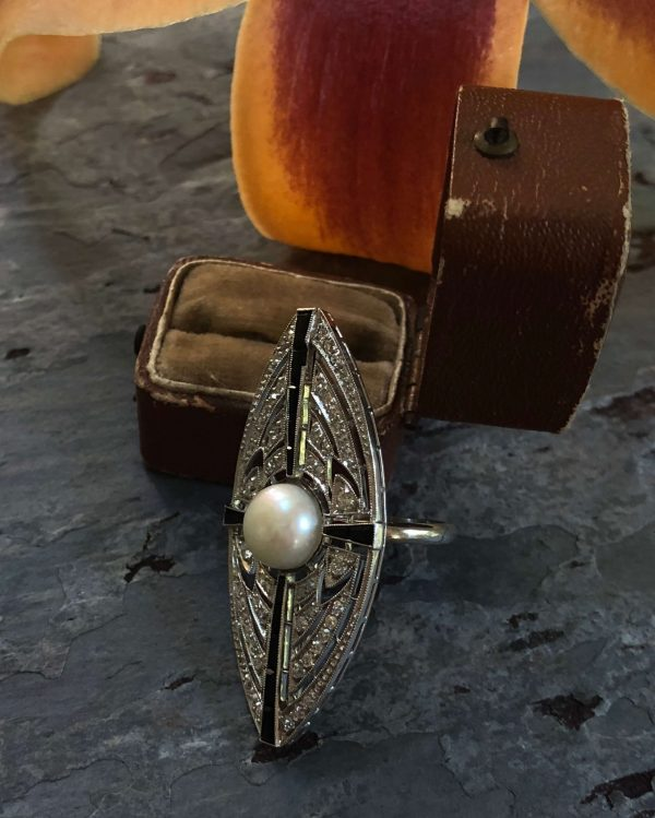 Art Deco Sapphire, Diamond and Cultured Pearl Ring (Vintage)