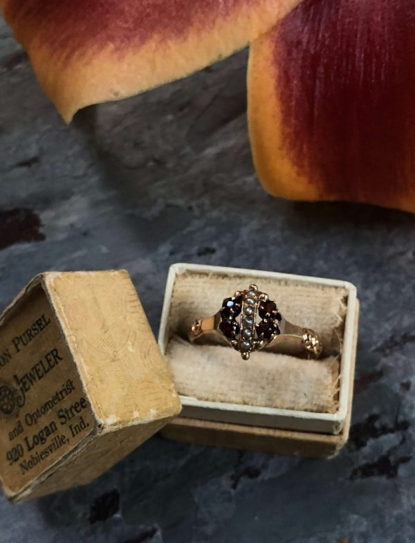 Victorian 14kt Yellow Gold Allsopp Brothers Garnet and Seed Pearl Ring (Vintage)
