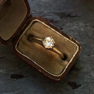Vintage 10kt Yellow Gold Ostby Barton Diamond Engagement Ring