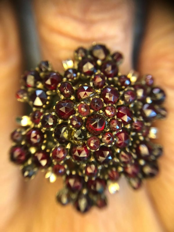 Victorian Yellow Gold Bohemian Czech Garnet Flower Ring (Vintage)