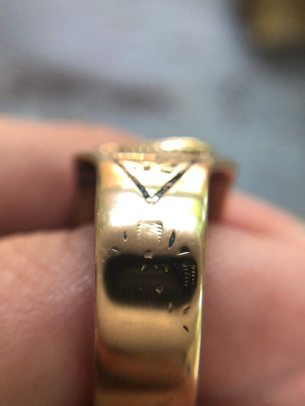 Antique 14kt Yellow Gold Diamond Double Eagle Masonic Ring