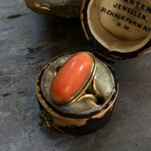 Victorian 14kt Yellow Gold Vintage Coral Ring