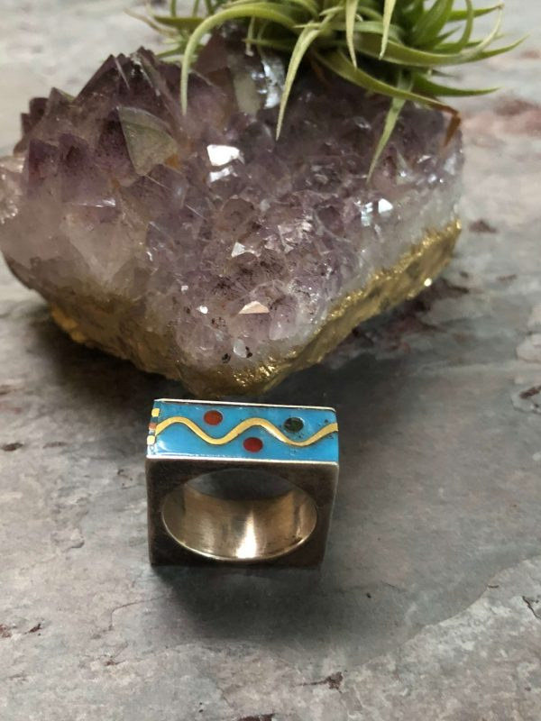 """Vintage Retro Sterling Silver and Enamel """"Square"""" Ring (Mexico)"""