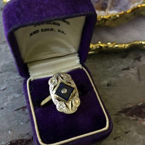 Yellow and White Gold Sapphire and Diamond Vintage Ring