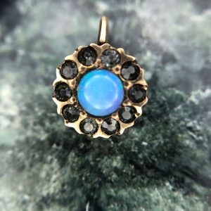 "Vintage 14kt Yellow Gold Paste ""Opal"" Stick Pin Conversion Pendant"
