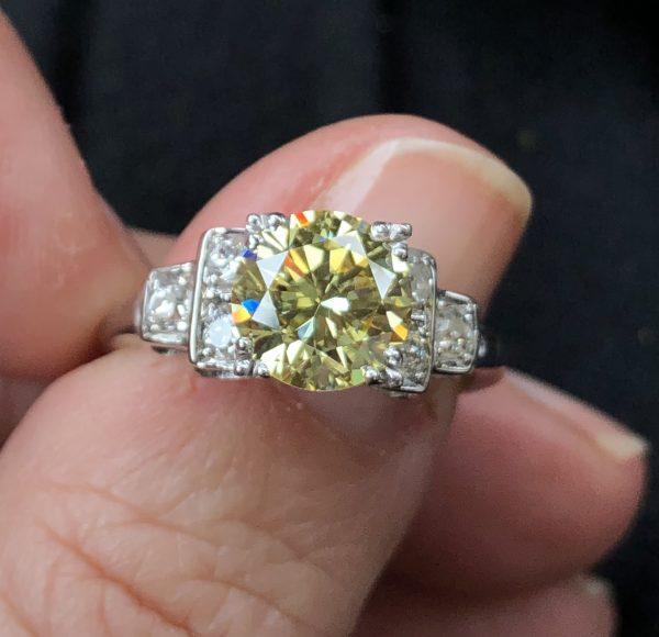 Round Brilliant Cut Vintage Fancy Yellow Diamond Ring GIA (1.94cts)
