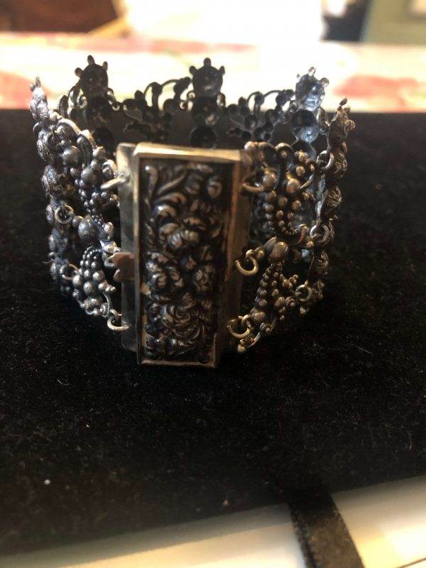 Sterling Silver Repousse Georgian Bracelet (Antique)